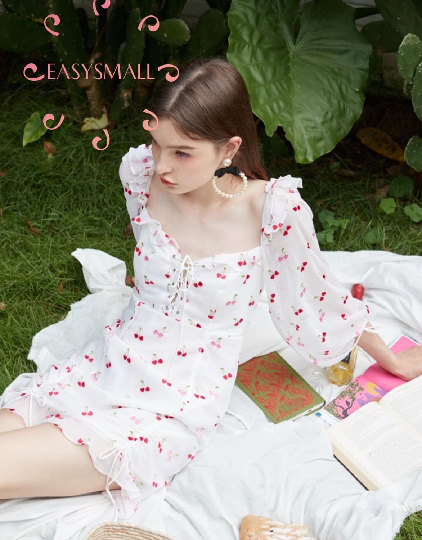EASYSMALL For Love Lemons Women dress Summer high-end point High Waist Cherry Drawstring Lace Ruffle Lantern Sleeve Dresses 3