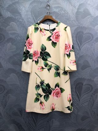 Spring summer runways floral print half sleeve sweet dress Fashion women's elegant dress B229