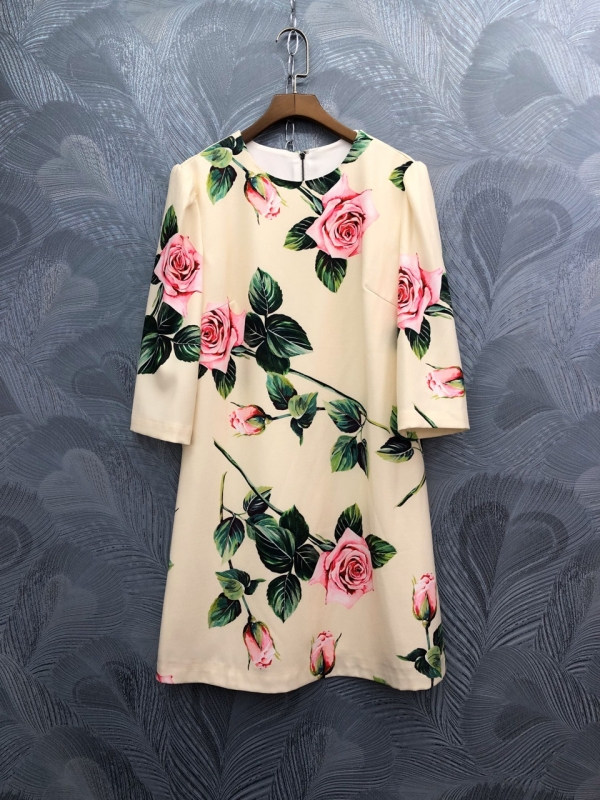 Spring summer runways floral print half sleeve sweet dress Fashion women's elegant dress B229
