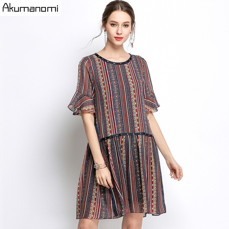 Summer Striped Chiffon Dress Women Clothing Beading O-neck Flare Half Sleeve Dress High Quality Plus Size 5XL 4XL 3XL 2XL XL L M 2