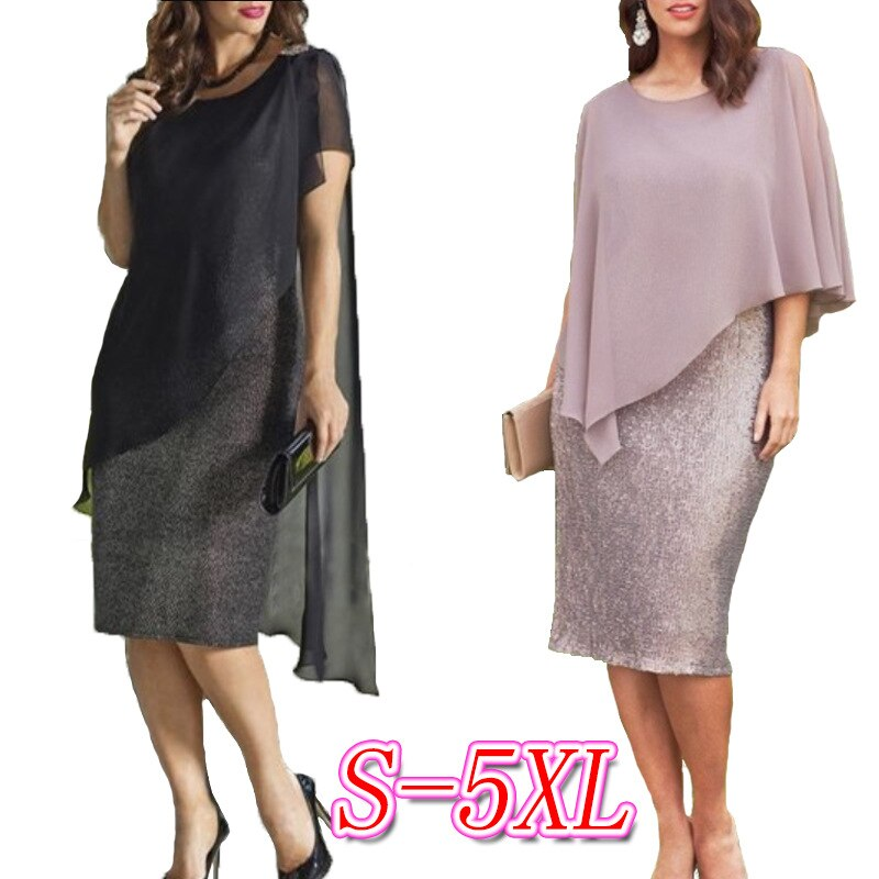 Explosion models irregular sequins stitching large size women's dress women's 8 color 8 yards loose breathable dress sexy dress 2