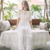 New Bohemian Hippie Big Swing Holiday Beach Dress O-Neck Half Sleeve Spring Summer Dresses Women White Patchwork Lace Dress
