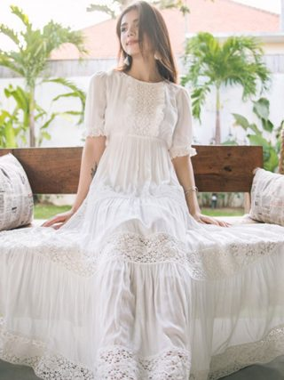 New Bohemian Hippie Big Swing Holiday Beach Dress O-Neck Half Sleeve Spring Summer Dresses Women White Patchwork Lace Dress