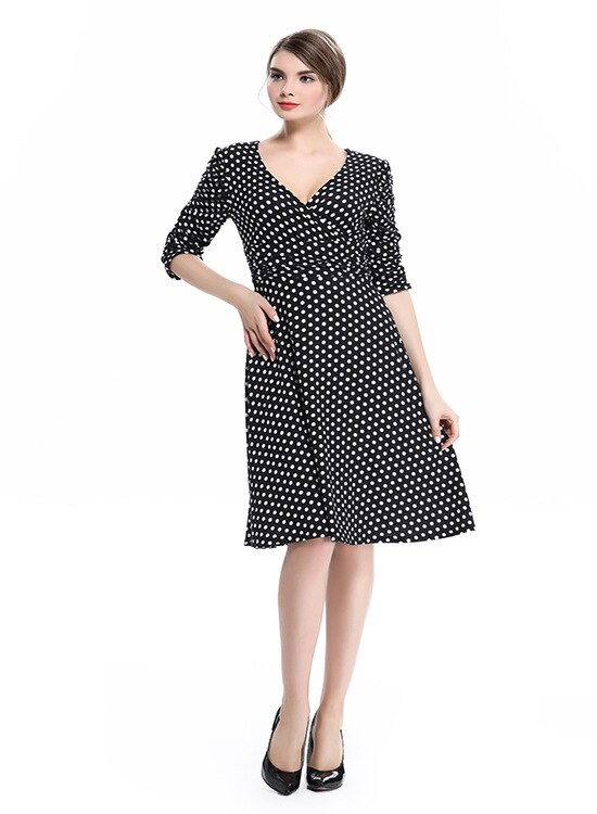 17 spring summer dress women princess elegant and ladies dress half sleeve dot casual dress for woman free shipping 2