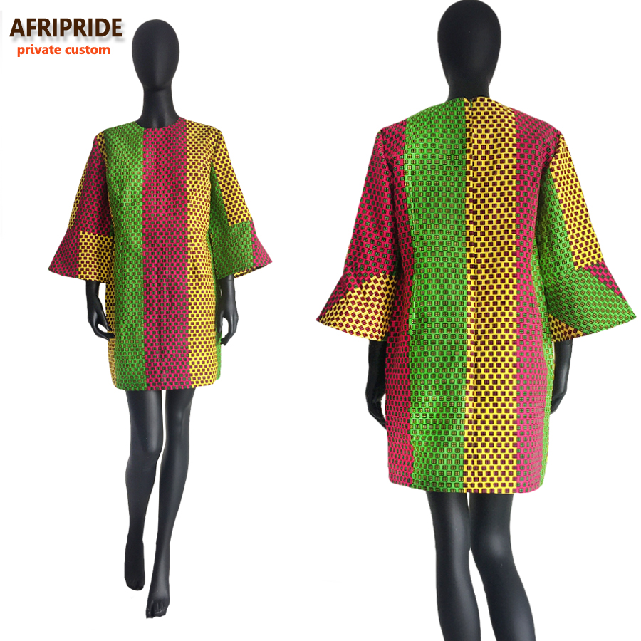 19 autumn african women dress AFRIPRIDE private custom flare sleeve above-knee length dress for women 100% pure cotton A722570 2