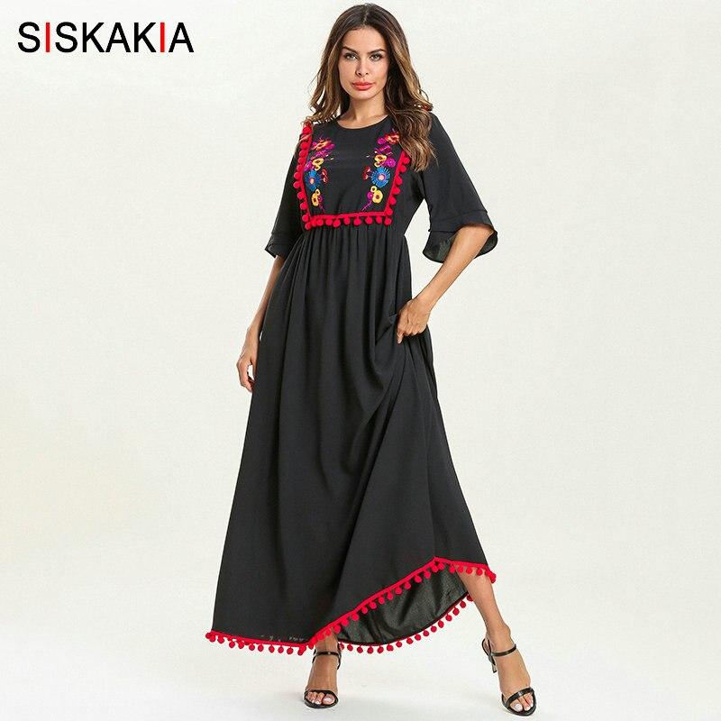 Siskakia Summer 19 Ethnic Women Long Dress Pompom Tassel Floral Embroidery Patchwork Design Maxi Dresses Swing Elegant Black