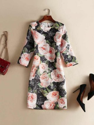 Vintage Black Flower Jacquard Dress Fashion O-Neck Half Sleeve Casual Dresses J0622