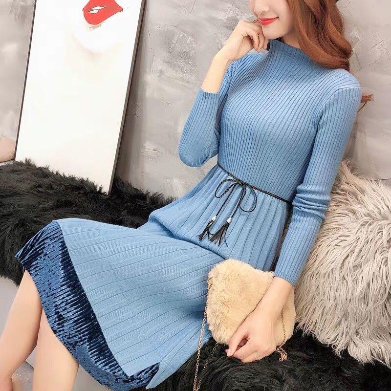 Sweater Dresses Women New Autumn Winter Loose Half Turtleneck Pullover Knit Sweater Dress Long Sleeve Slim Ladies Bottom Dress