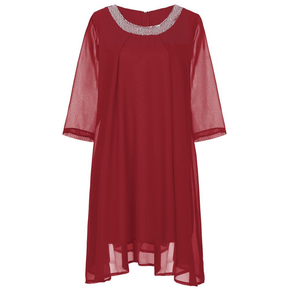Summer Dress 19 Plus Size Women Dress Half Sleeve Chiffon Maxi Dress Elegant Ladies Party Midi Dress Robe femme 2