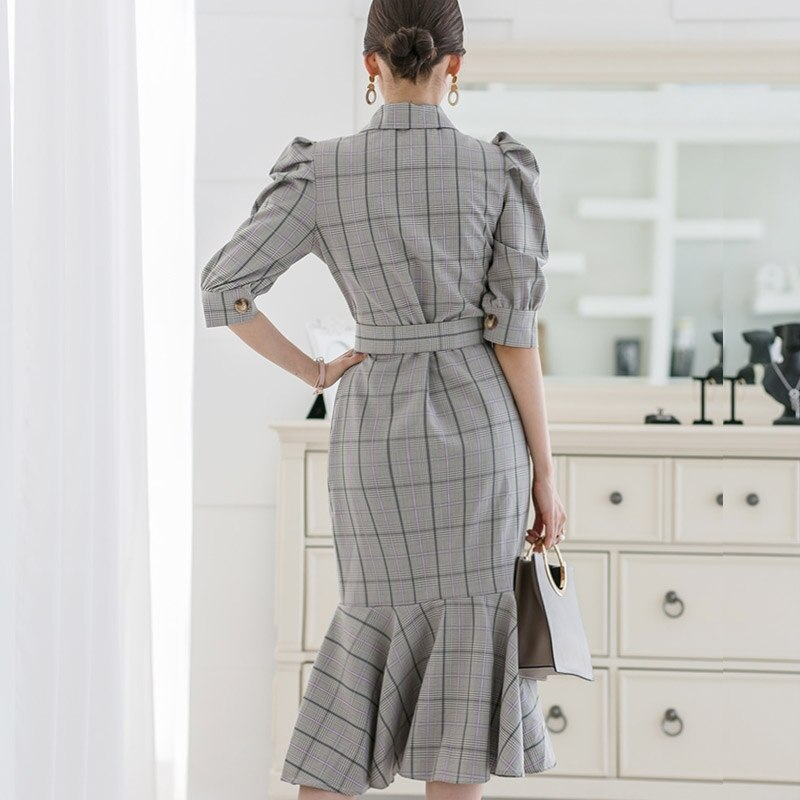 Summer Half Sleeve Vintage Knee-Length Cloth Double Breasted Sashes Notched Bodycon Plaid Fishtail Work Dress 3