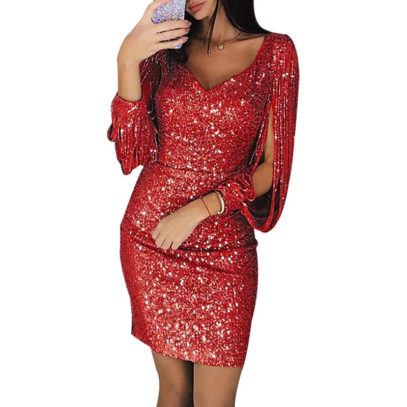 Sexy Women's V-neck Sparkling Tassels Long Sleeved Slim Bodycon Dress Sequined Club Mini Evening Party Dresses