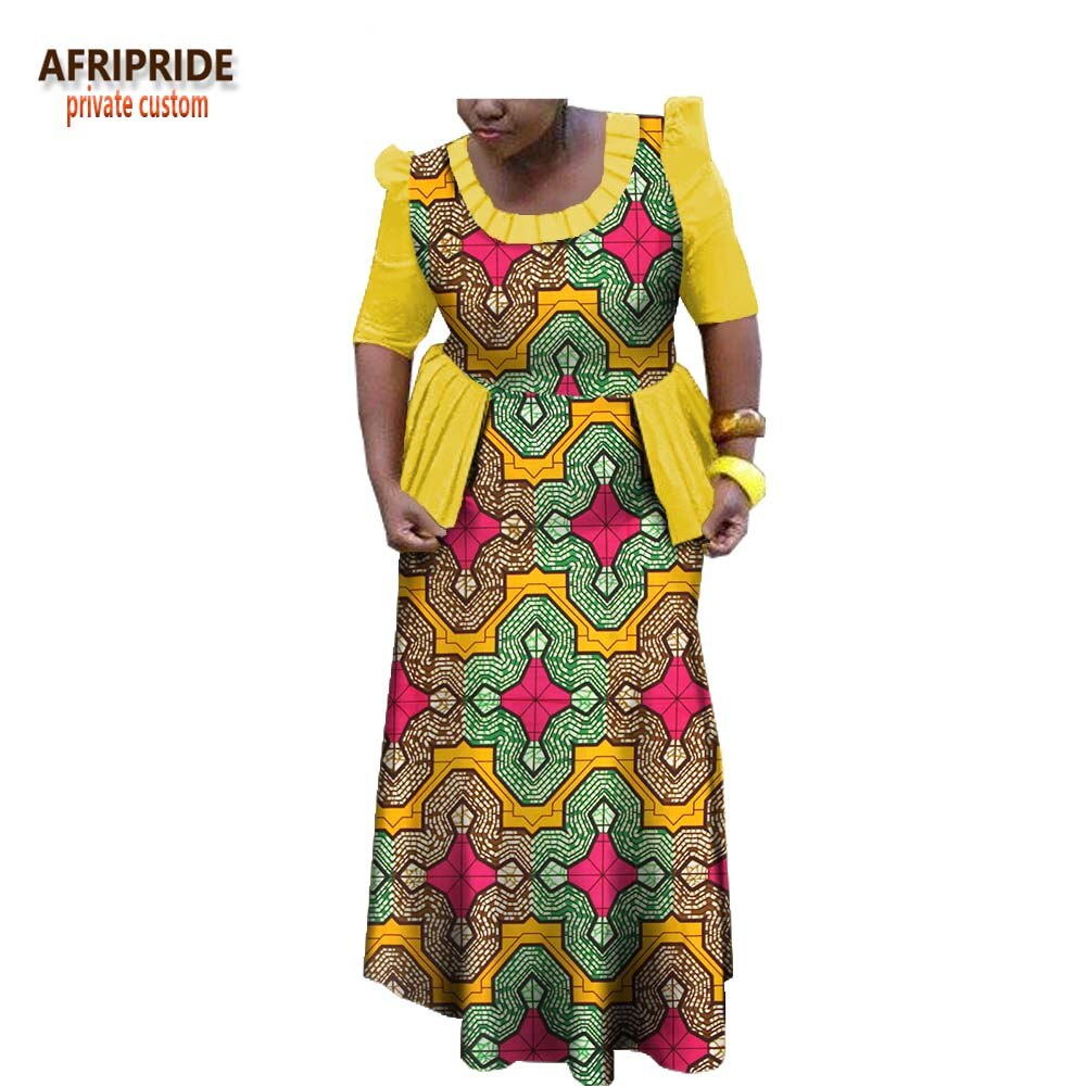 19 spring african traditional women dress AFRIPRIDE half sleeve ankle-length dress with ruffles decoration for women A1825025 2