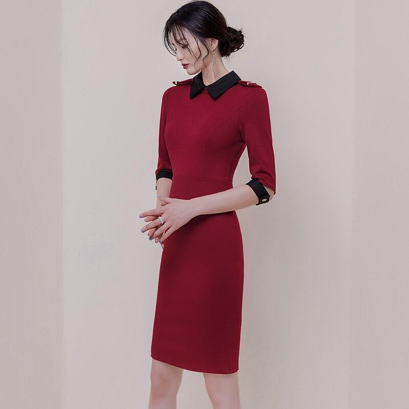 Autumn Turn-Down Collar Half Sleeve Red Vestidos Bodycon Pencil Brief OL Office Lady Dress 3