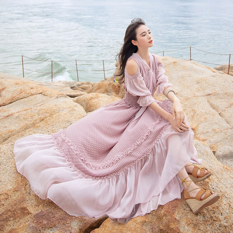 Free Shipping 19 Fashion Women Chiffon Long Maxi Ruffles Half Sleeve Dresses Summer Boshow Bohemian Dot Bandage Bow Dress S-L 1