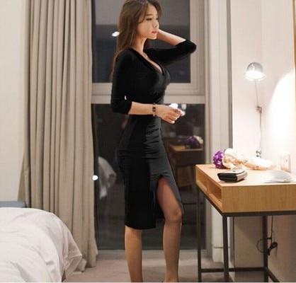 Midi Women Dress Bandage Office Party Sexy Bodycon Black Red Vintage Dress Vestidos Plus Size Half sleeve V-Neck Dresses 2