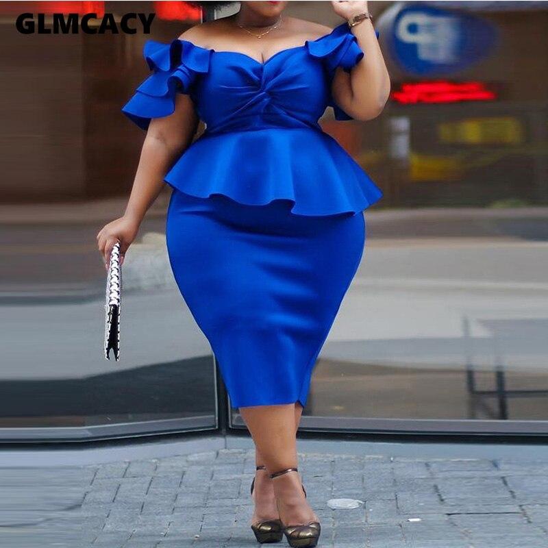 Women Sexy Slash Neck Half Sleeve Dress Summer Casual Solid Butterfly Sleeve Mid-calf Ruffled Bodycon Fashion Dress