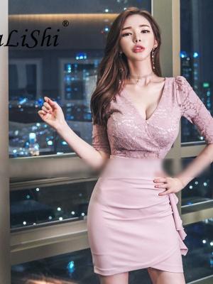 Plus Size Asymmetrical Dress 18 Autumn Women Pink Half Sleeve Lace V-neck Ruffles Sexy Club Short Dress Boho Dresses Vestidos