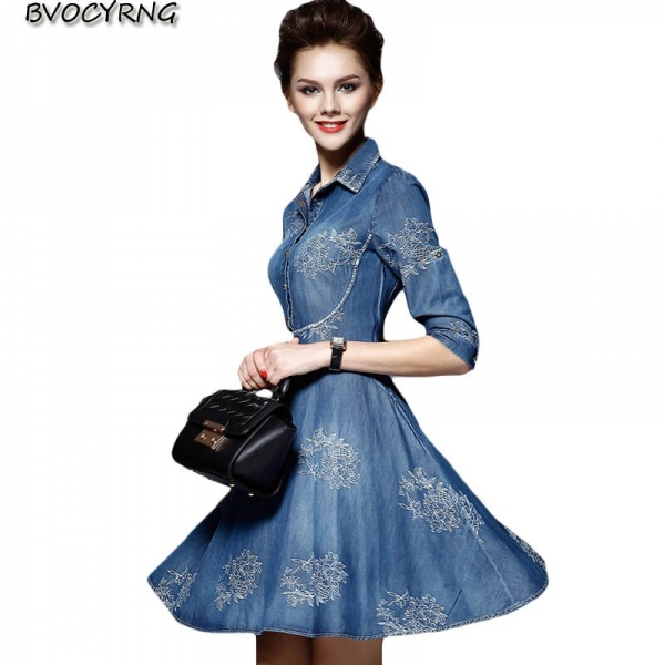 Women Denim Dress 19 Spring/summer New Europe Fashion Half sleeve Embroidery Big swing dress female Plus Size Cowboy Dresses