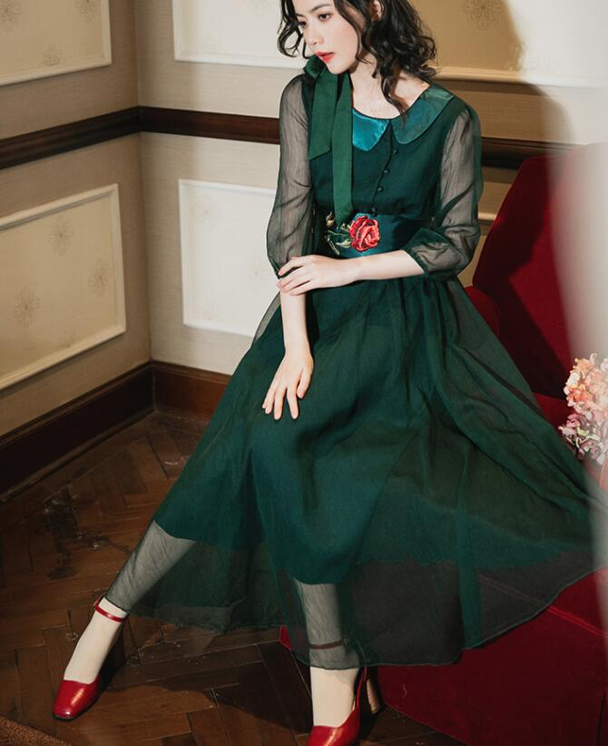 High Quality Retro 19 Spring New Arrival Bowknot Tie Flower Embroidery Half Sleeve Woman Long Chiffon Dress Green 1