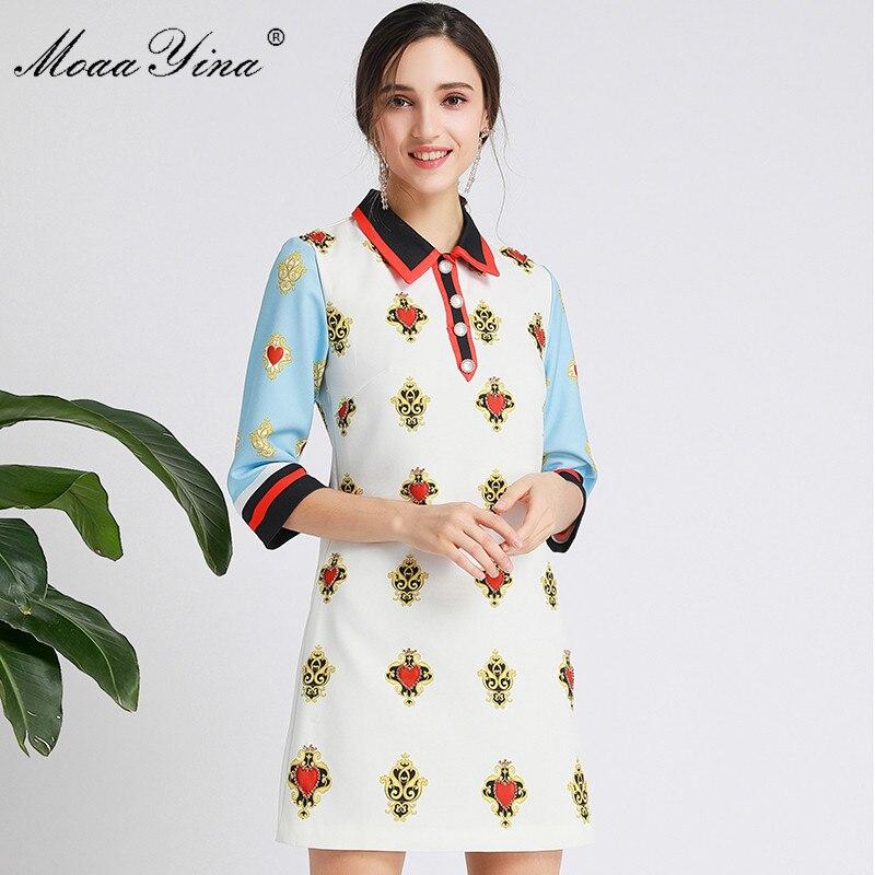 MoaaYina Fashion Designer dress Spring Autumn Women's Dress Half sleeve Beading Print Dresses 3