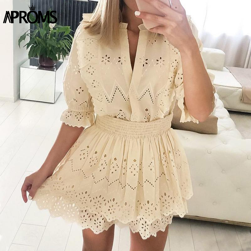 Aproms Elegant Solid Color High Waist Women Summer Dress Lace Hollow Out Mini Dress Sexy V-neck Half Sleeve Streetwear Dresses