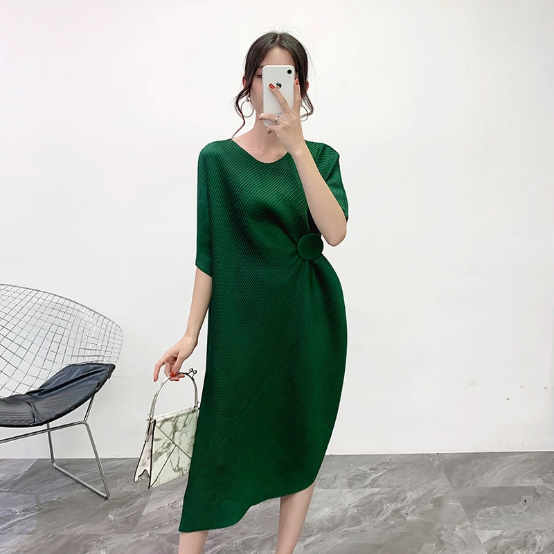 MEVGOHOT Half Sleeve Woman Solid Pleated Buttons Fashion Dress Mid-calf Length Press Fold Casual Loose Draped Dresses HD27 3