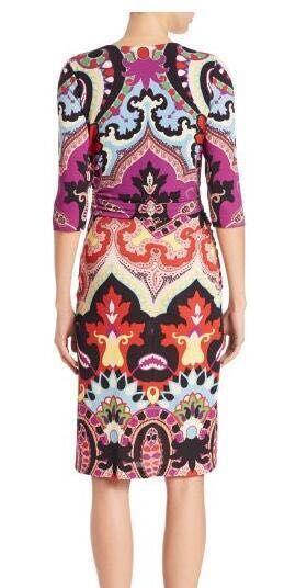 The new women's fashion print V collar half sleeve stretch knit Silk Jersey Slim dress 3