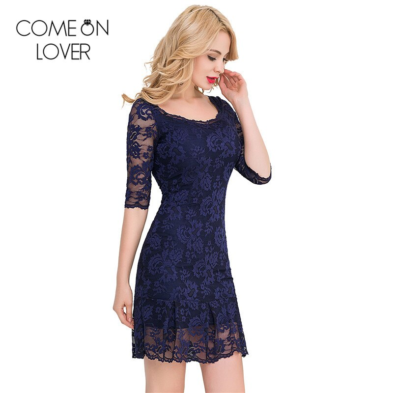 Comeonlover 18 Fashion Summer Dresses VE1046 Back See Through Women s Dresses Woman Half Sleeve Lace Mesh Dresses Floral robe 2