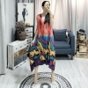 Spring Summer New Pleated Dress For Women Fashion Painting Fold Famale's Half Sleeve Dress Loose Temperament YH686