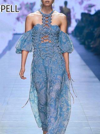 SISPELL Summer Hollow Out Print Women's Dress Halter Off Shoulder Half Sleeve A Line Dresses Female 19 Fashion New Vintage
