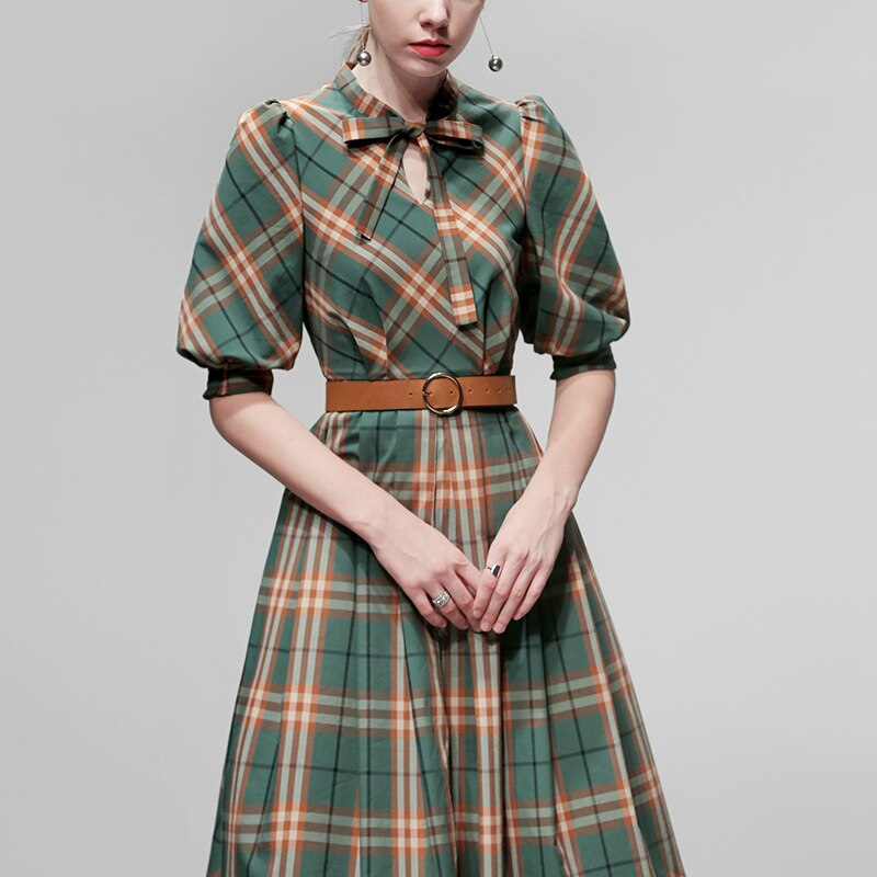 Elegant Plaid Dress Autumn Women Half Sleeve Office Lady Casual A Line Slim Dress Women With Belt Vintage Women Dress SL574 1