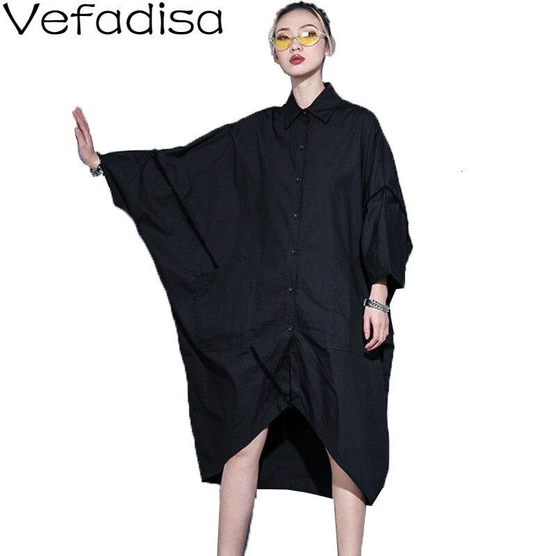 Vefadisa Spring Irregular Blouse Dress Woman  Pullover Half Sleeve Dress Solid Peter pan Collar Dress Black White QYF1573