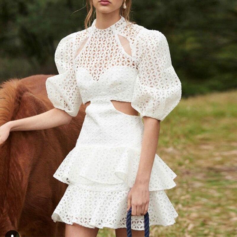 19 New Sexy Hollow Out White Women's Dresses Puff Half Sleeve High Waist Mini Dress 1