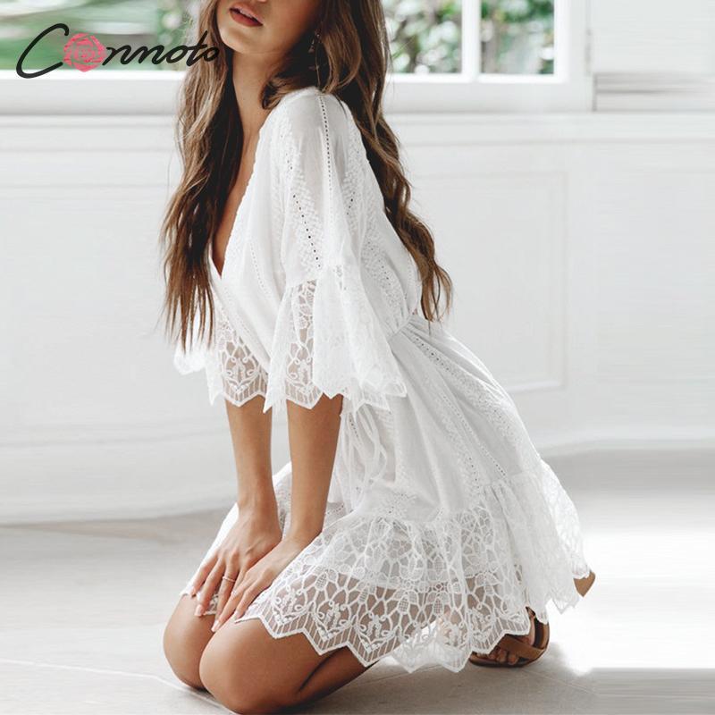 Conmoto Embroidery Lace White Party Dress Women Mesh Mini Female Half Sleeve Dress Sexy Femme Robe Dresses Vestidos 2