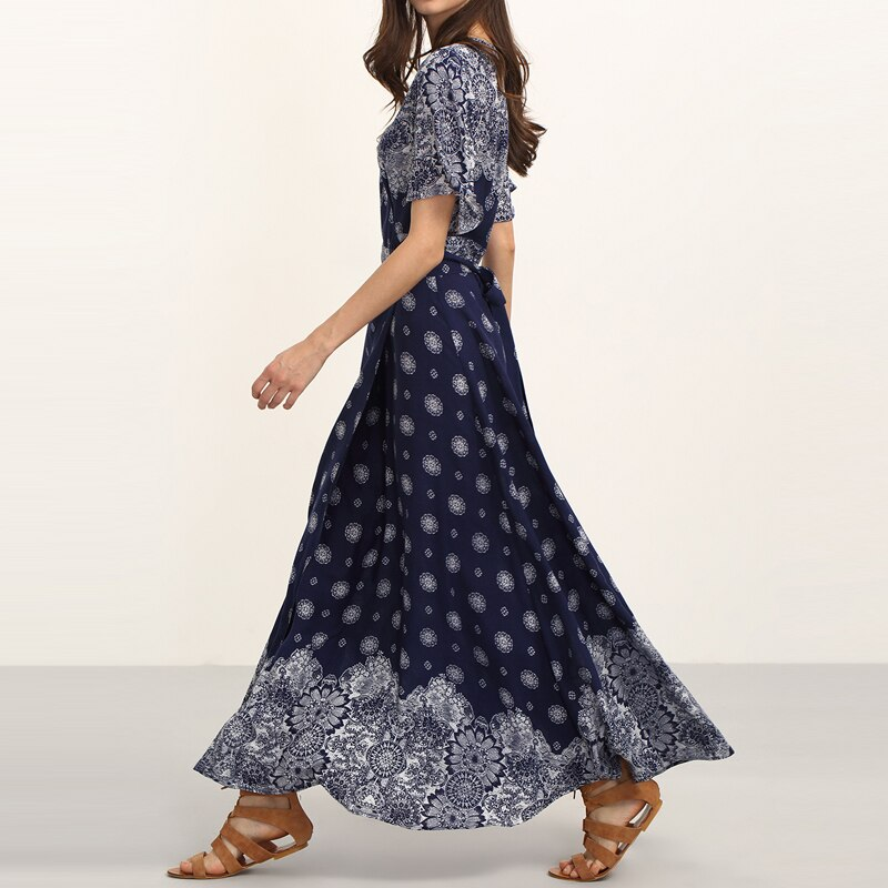 HEE GRAND Ladies Summer Long Dresses with Sashes Womens Vintage Multicolor Print V Neck Half Sleeve Split Maxi Dress WQL5625