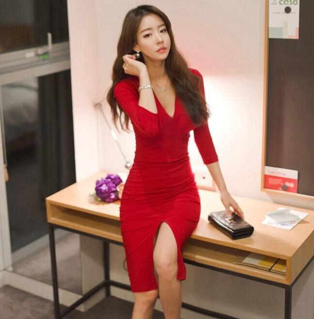 Midi Women Dress Bandage Office Party Sexy Bodycon Black Red Vintage Dress Vestidos Plus Size Half sleeve V-Neck Dresses 3