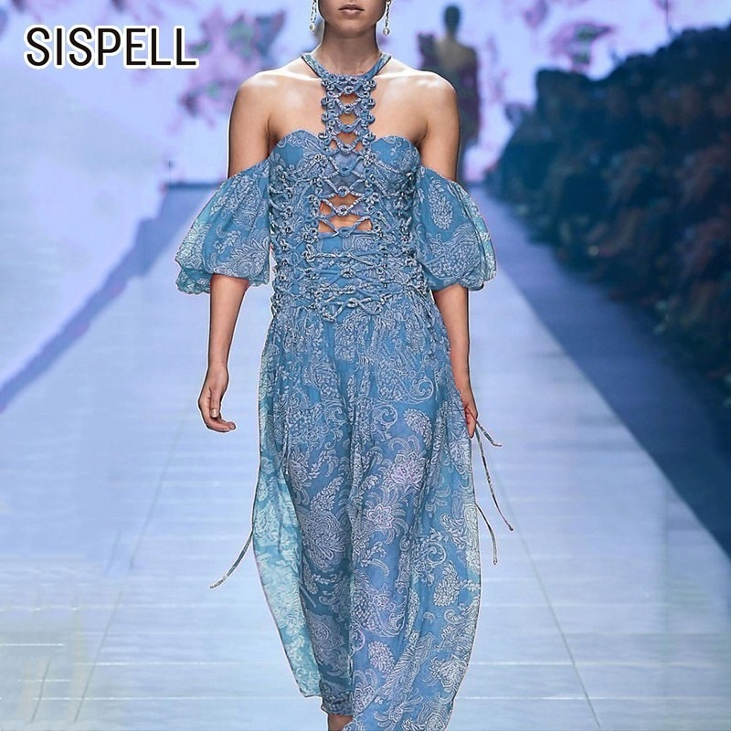 SISPELL Summer Hollow Out Print Women's Dress Halter Off Shoulder Half Sleeve A Line Dresses Female 19 Fashion New Vintage 1