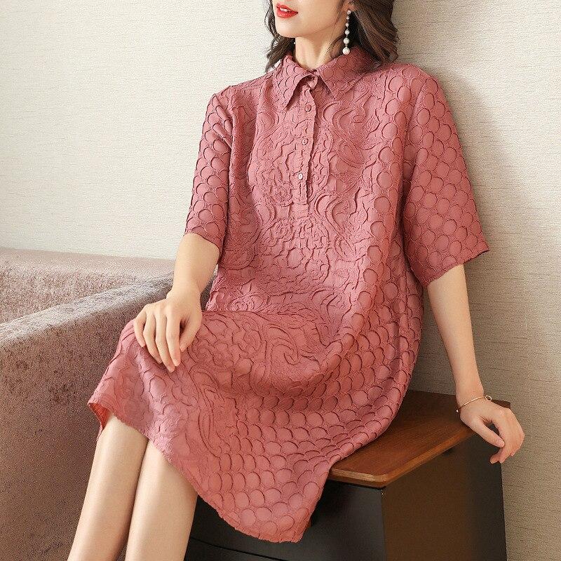 Plus Size Dress Summer Women Loose Elegant Casual Dress New Fashion Turndown Collar Half Sleeves Miyake Pleated Dresses 3