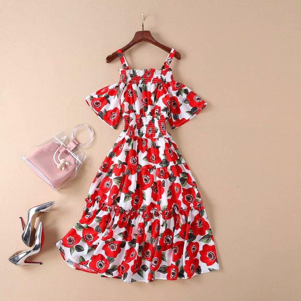 Women Dress 19 High Quality Spring Summer Designer Runway Half Sleeve Printed Spaghetti Strap Casual Dresses NP0093 3
