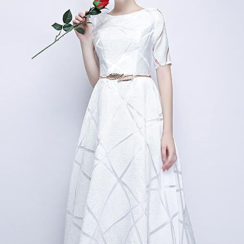 Elegant White Ball Gown Long Party Dress Casual Plus Size Dress Half Sleeve Round Dress 2