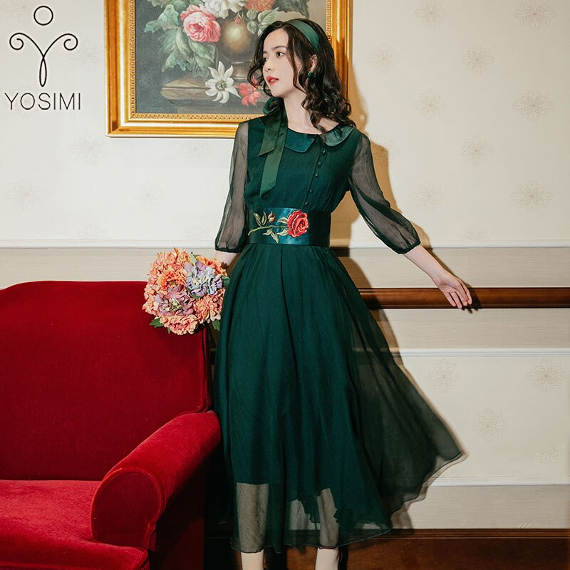 YOSIMI Summer Dress 19 Chiffon Long Dresses for Women Vintage Tunic Embroidery Sashes O-Neck Half Sleeve Evening Party Dress