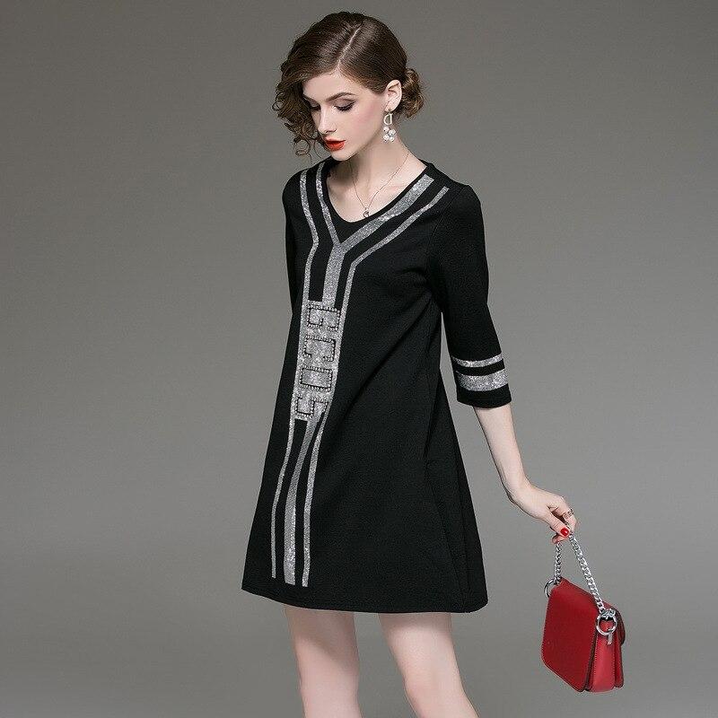 M-XXXL Plus Size Black A-Line Casual Dress Women V-neck Half Sleeve Elegant Mini Dress Women Loose Vintage Office Ladies Dresses 2