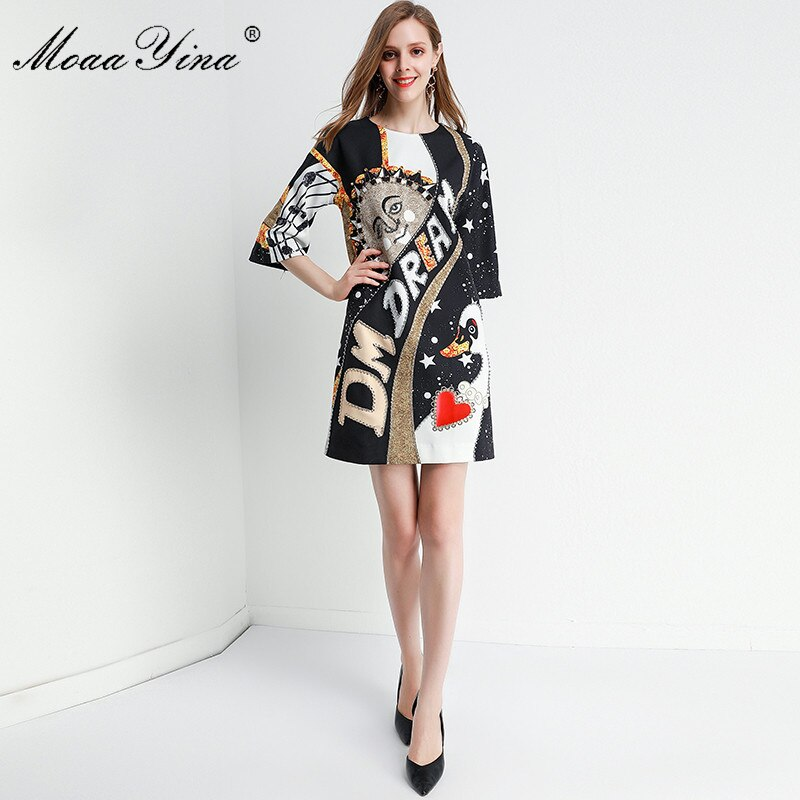 MoaaYina Fashion Designer dress Spring Summer Women's Dress Half sleeve Crystal Beading Loose Dresses 3