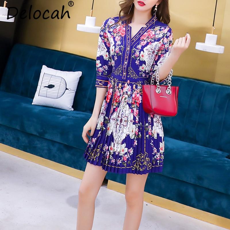 Delocah Women Spring Summer Dress Runway Fashion Designer Half Sleeve Simple Button Flower Printed Vintage Pleated Mini Dresses 2
