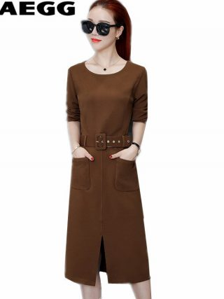 TEAEGG New Half Sleeve Autumn Winter Dresses Women 19 High Quality Casual Ladies Dresses Large Sizes Woman Dress Robe AL481