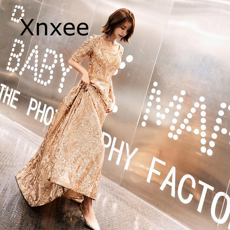 Xnxee Full Sequins Shining O-neck Half Sleeve Formal Dresses Women Vintage Wine Red Long Party Vestido de novia 3