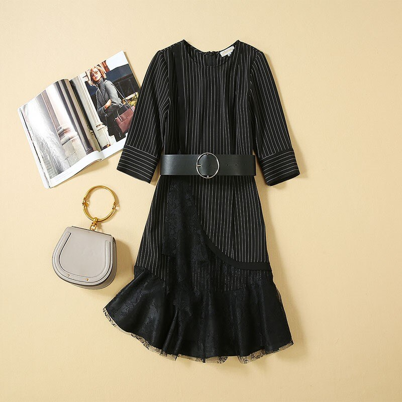 Women Dresses 19 High Quality Newest Designer Runway O-Neck Half Sleeve Patchwork Lace Elegant Dress Casual Dresses NP0762J 1