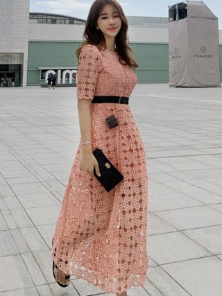 19 New Runway Hollow Out Patchwork Elegant Long Dress Women Autumn Ankle-length Swing OL Lace Half Sleeve Dresses Vestidos