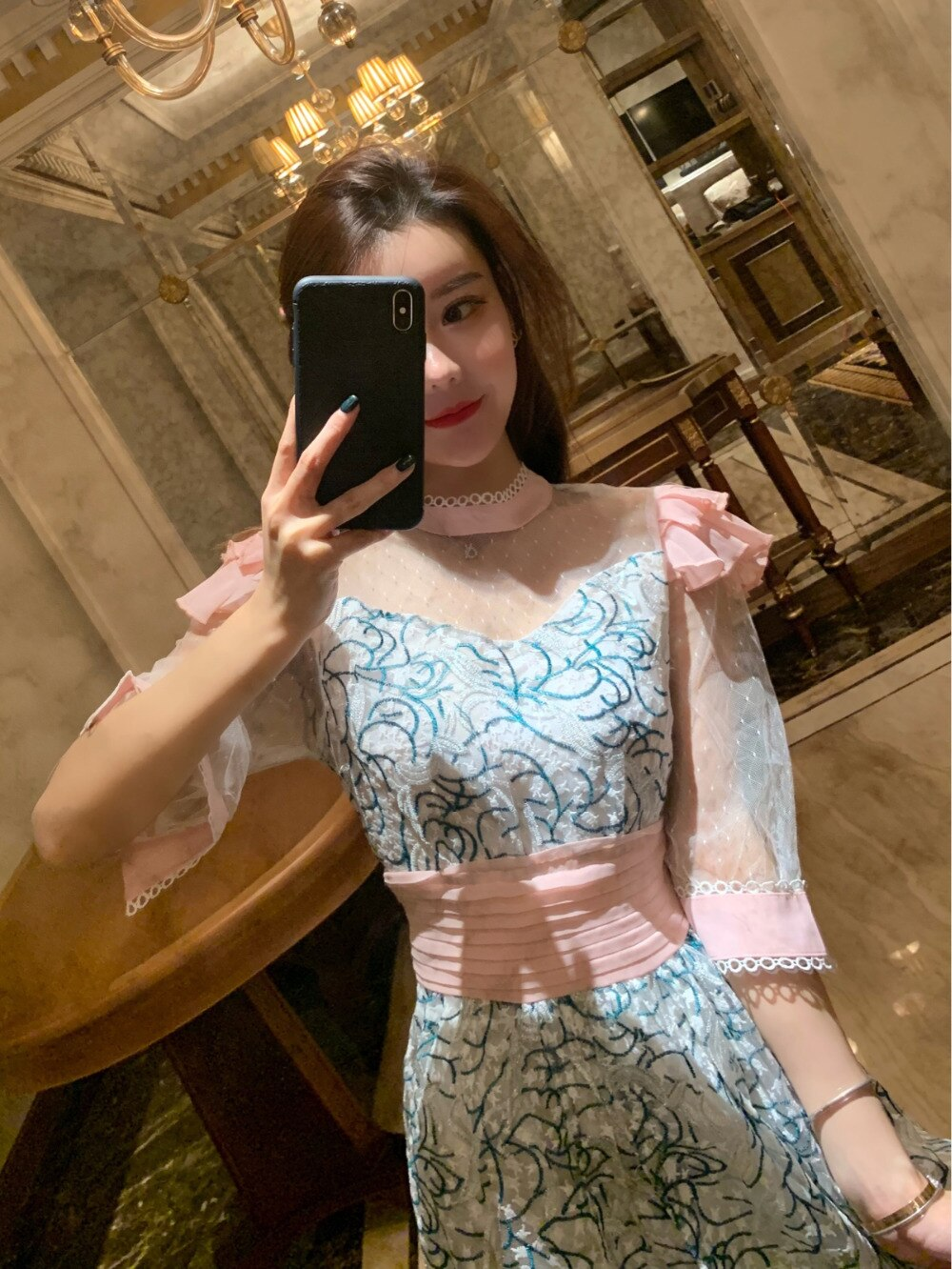 New Fashion Women Party Dress 19 Runway Summer Sweet pink mesh Patchwork half Sleeve Dress Embroidery Floral Midi Dresses 3
