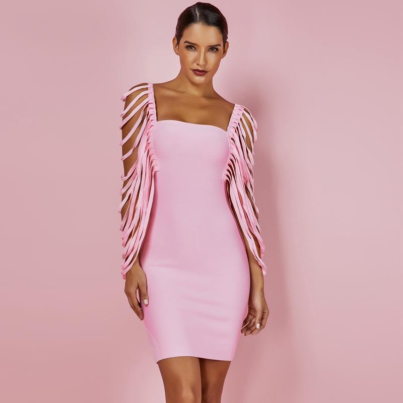 Sexy Women Dress Bandage Bodycon 19 New Summer Pink Fringe Detailed Cap Sleeve Woman Bandage Party Mini Dress XL 2